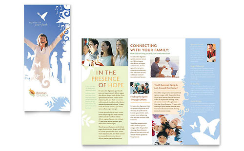 Christian Church Tri Fold Brochure Template Design