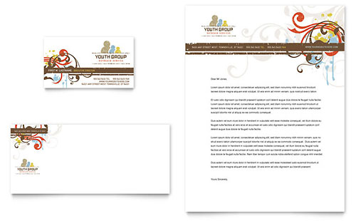 Church Youth Group Business Card & Letterhead Template - Microsoft Office