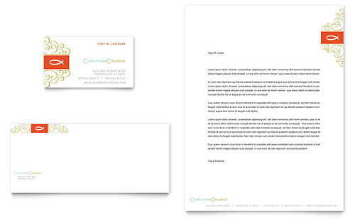 Christian Church Religious Business Card & Letterhead Template - Microsoft Office