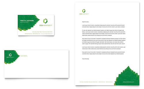 Environmental Non Profit Business Card & Letterhead Template - Microsoft Office