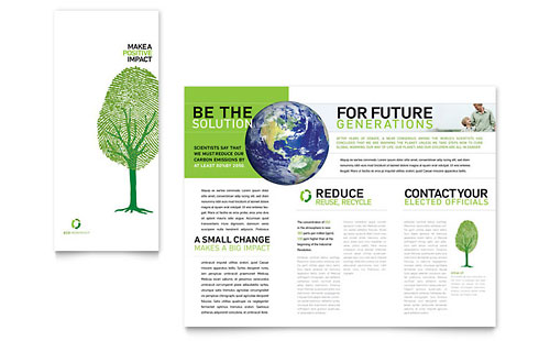 Environmental Non Profit Tri Fold Brochure Template - Microsoft Office