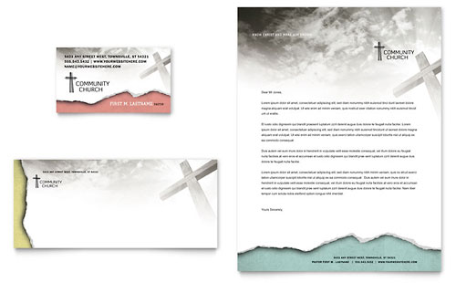 Bible Church Business Card & Letterhead Template Design