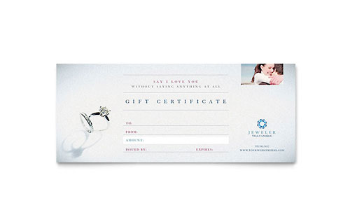 Jeweler & Jewelry Store Gift Certificate Template Design