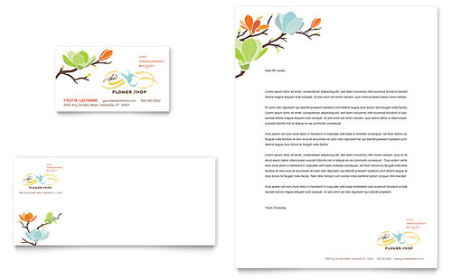Flower Shop Business Card & Letterhead Template - Microsoft Office