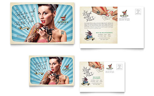 Body Art & Tattoo Artist Postcard Template Design