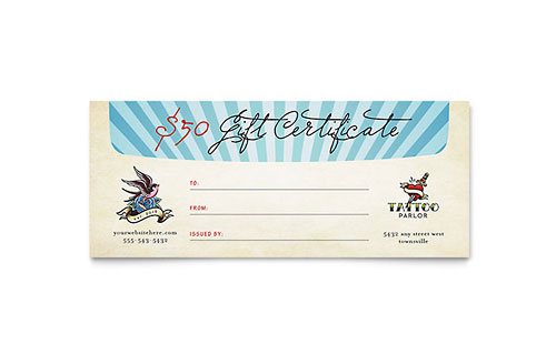 Body Art & Tattoo Artist Gift Certificate Template Design