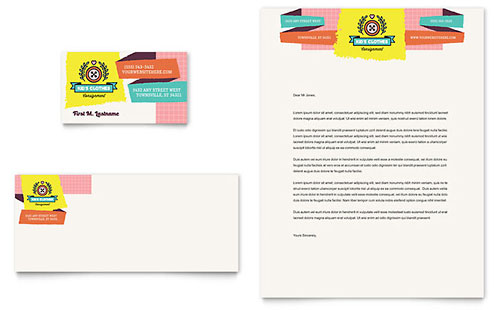 Kids Consignment Shop Business Card & Letterhead Template - Microsoft Office
