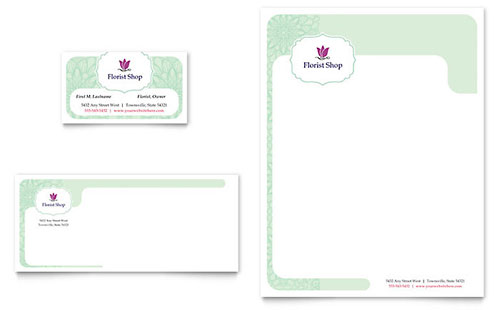 Florist Business Card & Letterhead Template - Microsoft Office