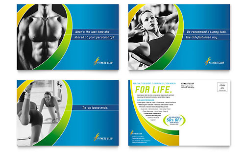 Sports & Health Club Postcard Template - Microsoft Office