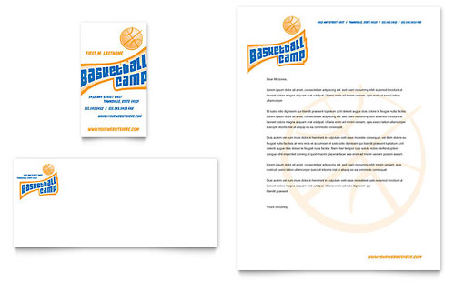 Basketball Sports Camp Business Card & Letterhead Template - Microsoft Office