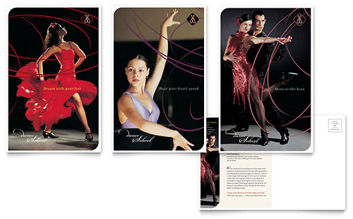 Dance School Postcard Template - Microsoft Office