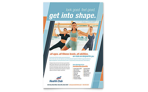 Health & Fitness Gym Flyer Template - Microsoft Office