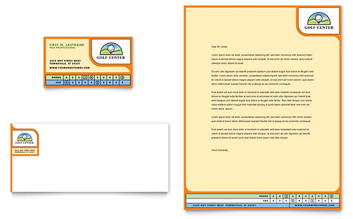 Golf Instructor & Course Business Card & Letterhead Template - Microsoft Office