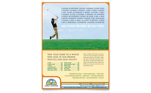 Golf Instructor & Course Flyer Template - Microsoft Office