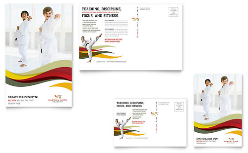 Karate & Martial Arts Postcard Template - Microsoft Office