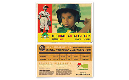 Baseball Sports Camp Flyer Template - Microsoft Office