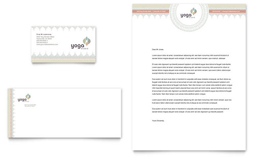 Pilates & Yoga Business Card & Letterhead Template - Microsoft Office