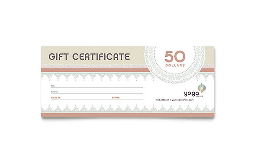 Pilates & Yoga Gift Certificate Template - Microsoft Office