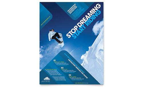 Ski & Snowboard Instructor Flyer Template Design