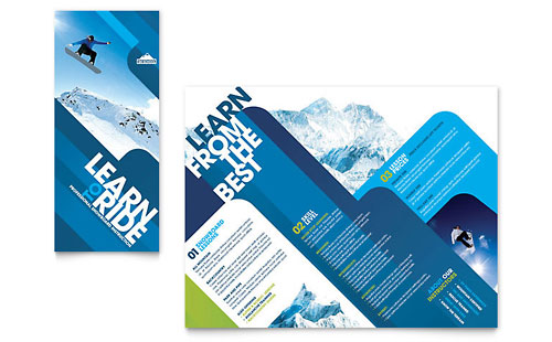 Ski & Snowboard Instructor Tri Fold Brochure Template Design