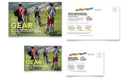 Bike Rentals & Mountain Biking Postcard Template - Microsoft Office