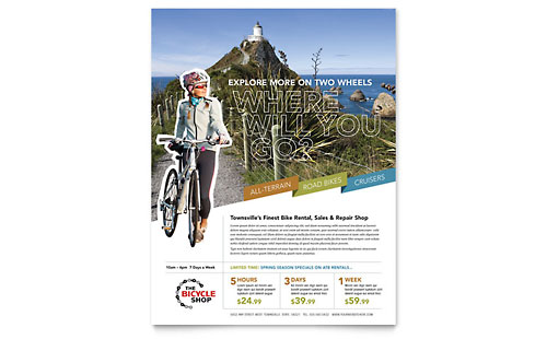 Bike Rentals & Mountain Biking Flyer Template - Microsoft Office