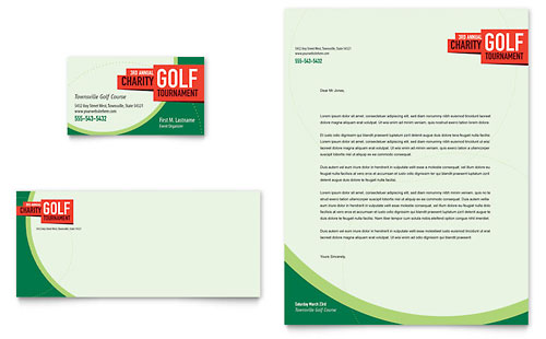 Golf Tournament Business Card & Letterhead Template - Microsoft Office