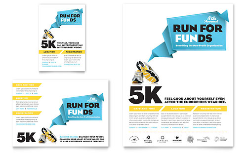 Charity Run Flyer & Ad Template - Microsoft Office