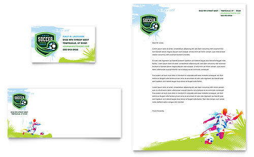 Youth Soccer Business Card & Letterhead Template - Microsoft Office