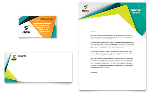 Fitness Trainer Business Card & Letterhead Template - Microsoft Office