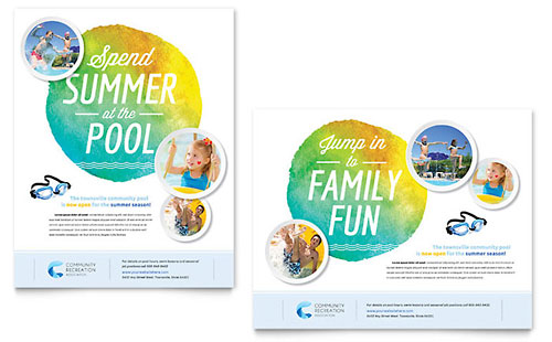 Community Swimming Pool Poster Template - Microsoft Office