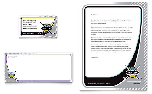 Junior Hockey Camp Business Card & Letterhead Template Design