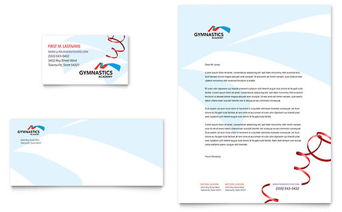 Gymnastics Academy Business Card & Letterhead Template - Microsoft Office