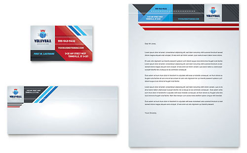 Volleyball Camp Business Card & Letterhead Template - Microsoft Office