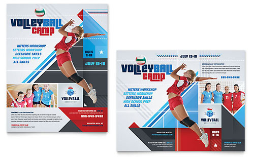 Volleyball Camp Poster Template - Microsoft Office