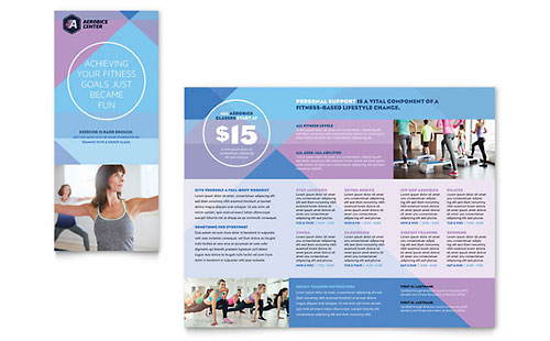 Sports  Fitness  Tri Fold Brochure Templates  Word  Publisher