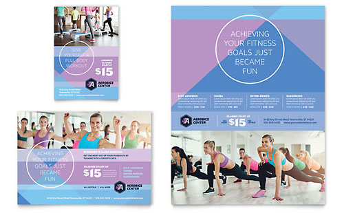 Aerobics Center Flyer & Ad Template - Microsoft Office