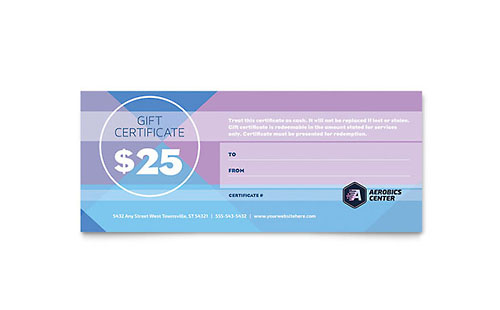 Aerobics Center Gift Certificate Template - Microsoft Office
