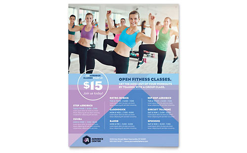 Aerobics Center Class Flyer Template Design