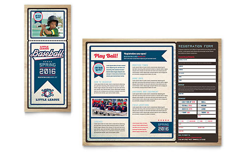 Baseball League Brochure Template - Microsoft Office