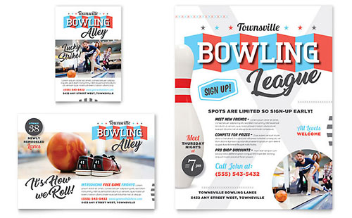 Bowling Flyer & Ad Template Design