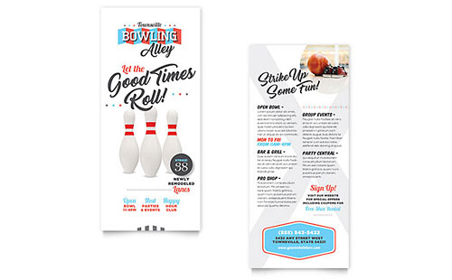 Bowling Rack Card Template Design