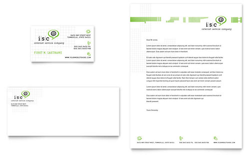 ISP Internet Service Business Card & Letterhead Template - Microsoft Office