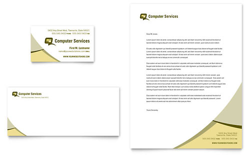 Computer Services & Consulting Business Card & Letterhead Template - Microsoft Office