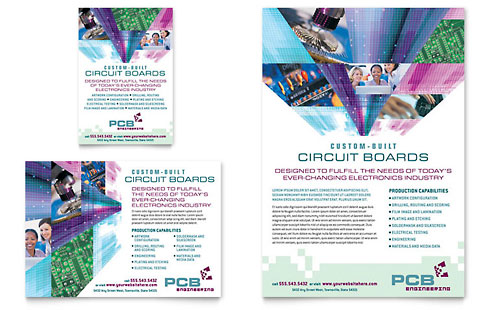 High-Tech Manufacturing Flyer & Ad Template Design