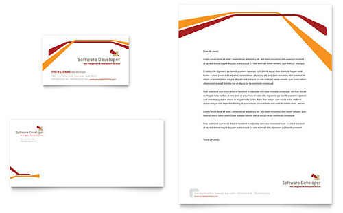 Software Developer Business Card & Letterhead Template - Microsoft Office