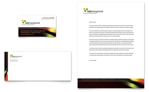 Internet Software Business Card & Letterhead Template Design