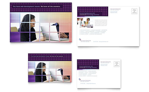 Information Technology Postcard Template Design