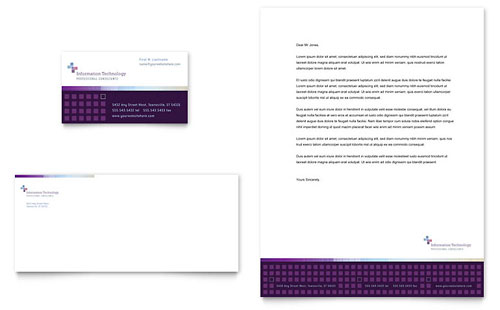 Information Technology Business Card & Letterhead Template Design