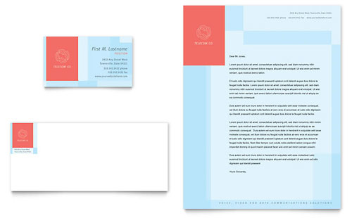 Communications Company Business Card & Letterhead Template - Microsoft Office